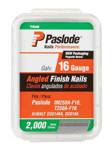 Paslode  20 deg. 16 Ga. Smooth Shank  Angled Strip  Finish Nails  2-1/2 in. L x 0.12 in. Dia. 2,000
