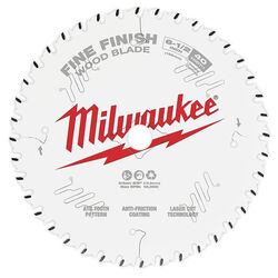 Milwaukee  6-1/2 in. Dia. x 5/8 in.  Fine Finish  Carbide Tipped Steel  Circular Saw Blade  40 teeth