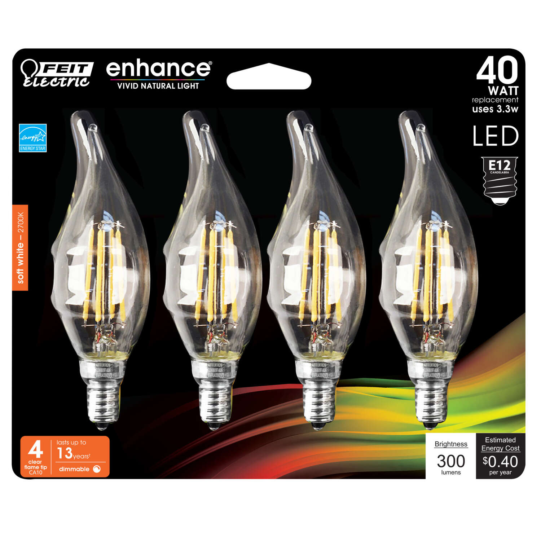 Feit Electric Enhance Ca10 E12 Candelabra Filament Led Bulb Soft White 40 Watt Equivalence 4 Ace Hardware