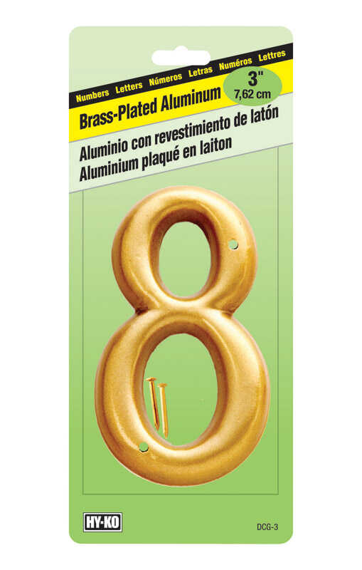 Hy-Ko  3 in. Brass Plated  8  Number  Nail-On  Aluminum