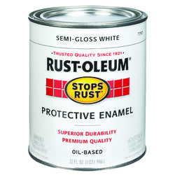 Rust-Oleum Stops Rust Semi-Gloss White Oil-Based Exterior and Interior Protective Paint 1 qt.