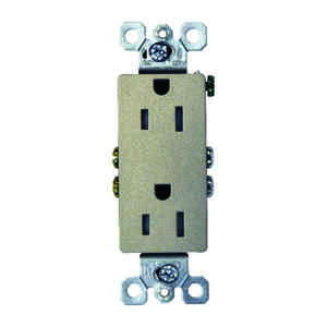 Pass & Seymour  Decora  15 amps 125 volt Silver  Outlet  5-15 R  1 pk