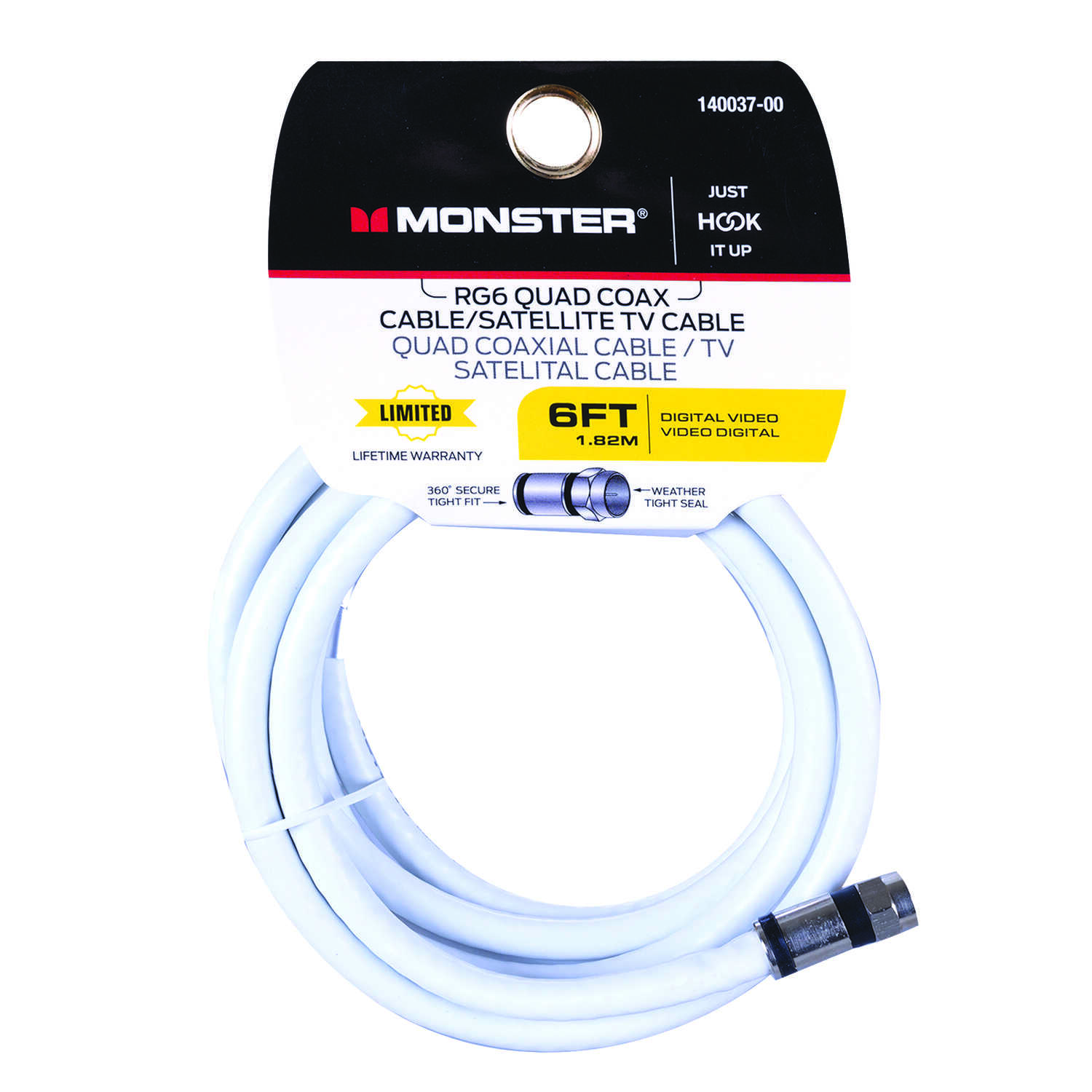Monster Cable  Just Hook It Up  6 ft. Weatherproof Video Coaxial Cable
