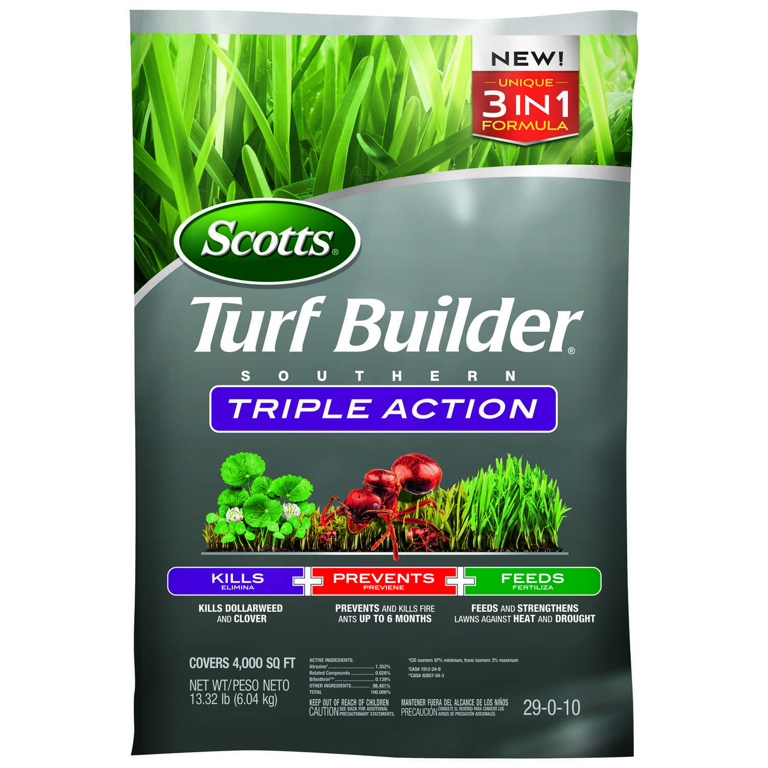 Scotts  Turf Builder Triple Action  29-0-10  Weed Control Plus Lawn Food  For Southern 13.32 lb.