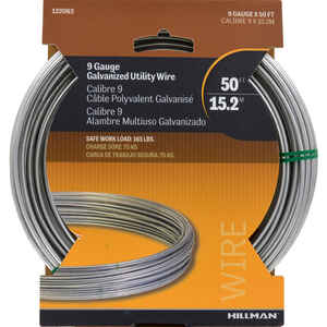 Hillman  50 ft. L Galvanized  Steel  9 Ga. Wire