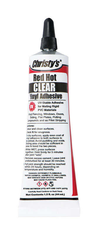 Christys  Red Hot  Clear  Adhesive  Clear  8 oz. 8 oz. For PVC/Vinyl