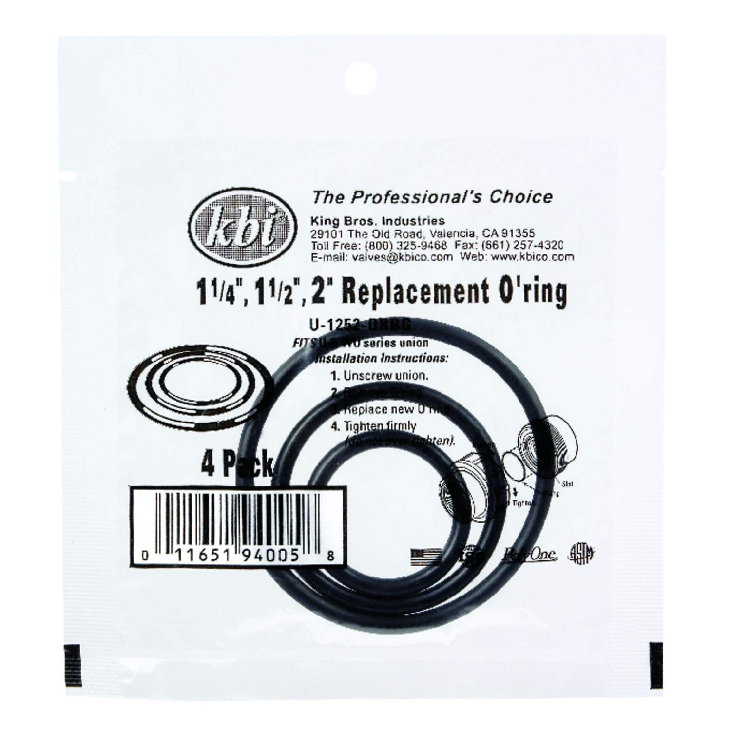 NDS  2 in. Dia. EPDM  Union O-Ring Pack  3 count