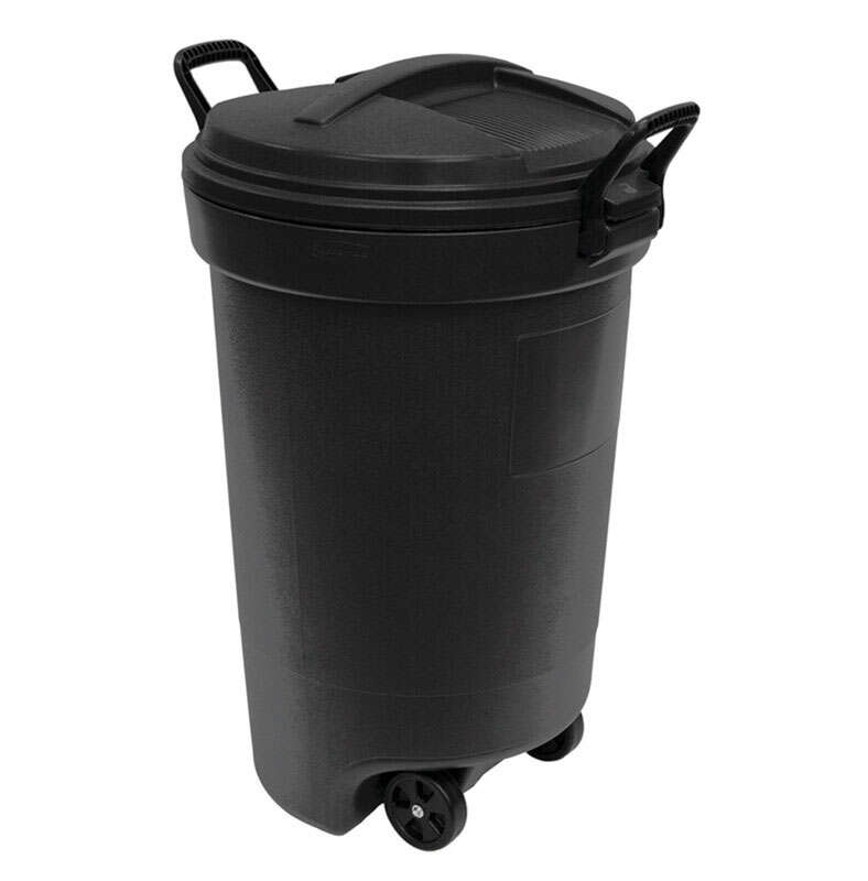 Rubbermaid 32 Gal Plastic Wheeled Trash, Rubbermaid Outdoor Garbage Can With Lid