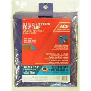 Ace  10 ft. W x 12 ft. L Medium Duty  Polyethylene  Tarp  Blue/Brown
