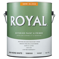 Royal  Semi-Gloss  High Hiding White  Acrylic Latex  Paint and Primer in One  Outdoor  1 gal.