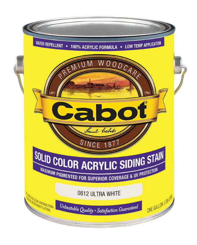 Cabot  Solid  Ultra White  Water-Based  Acrylic  Solid Color Acrylic Deck Stain  1 gal.