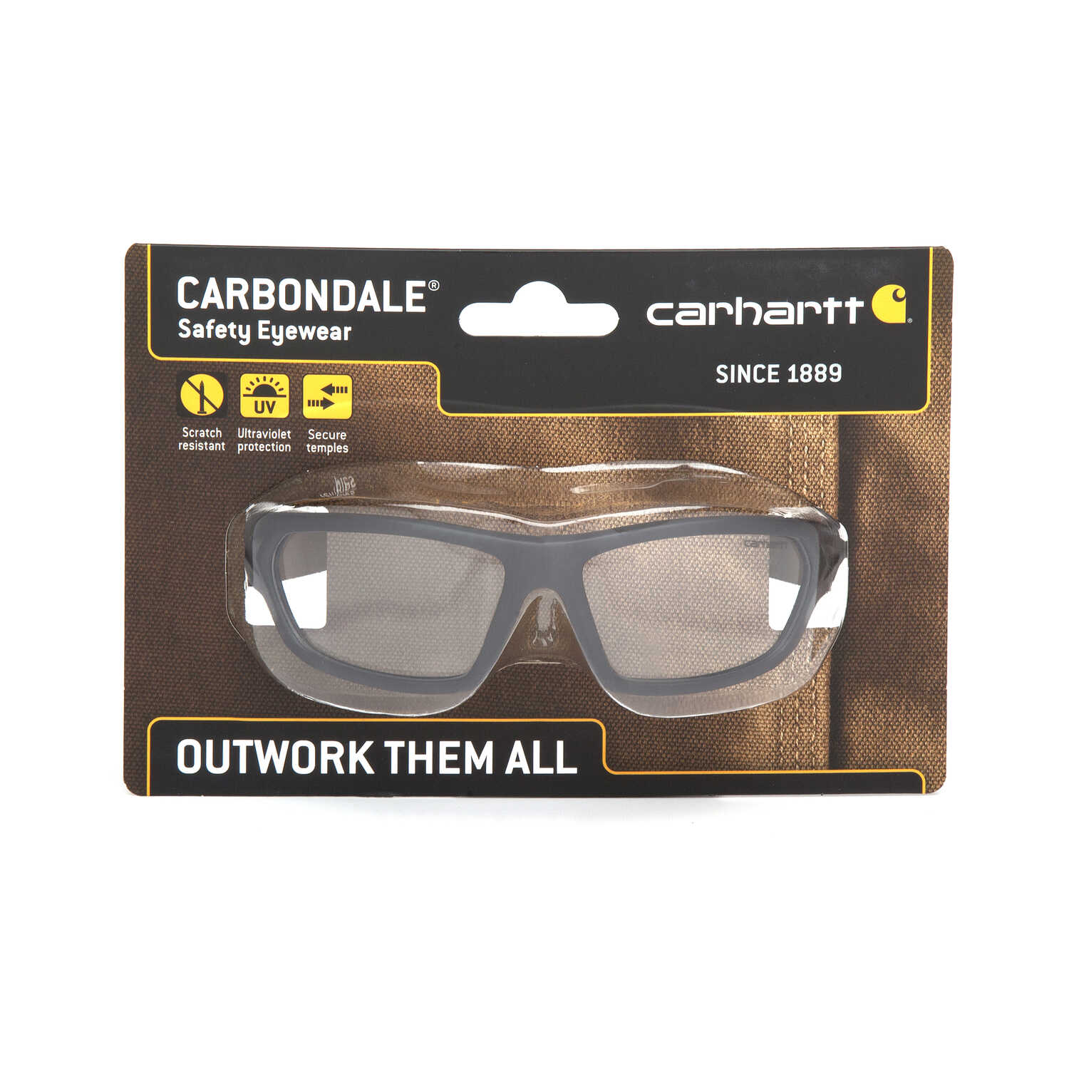 Carhartt  Carbondale  Anti-Fog Safety Glasses  Clear Lens Black Frame 1 pc.