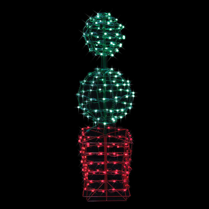 Celebrations Topiary Led Christmas Decoration Red Green Metal 1 Each