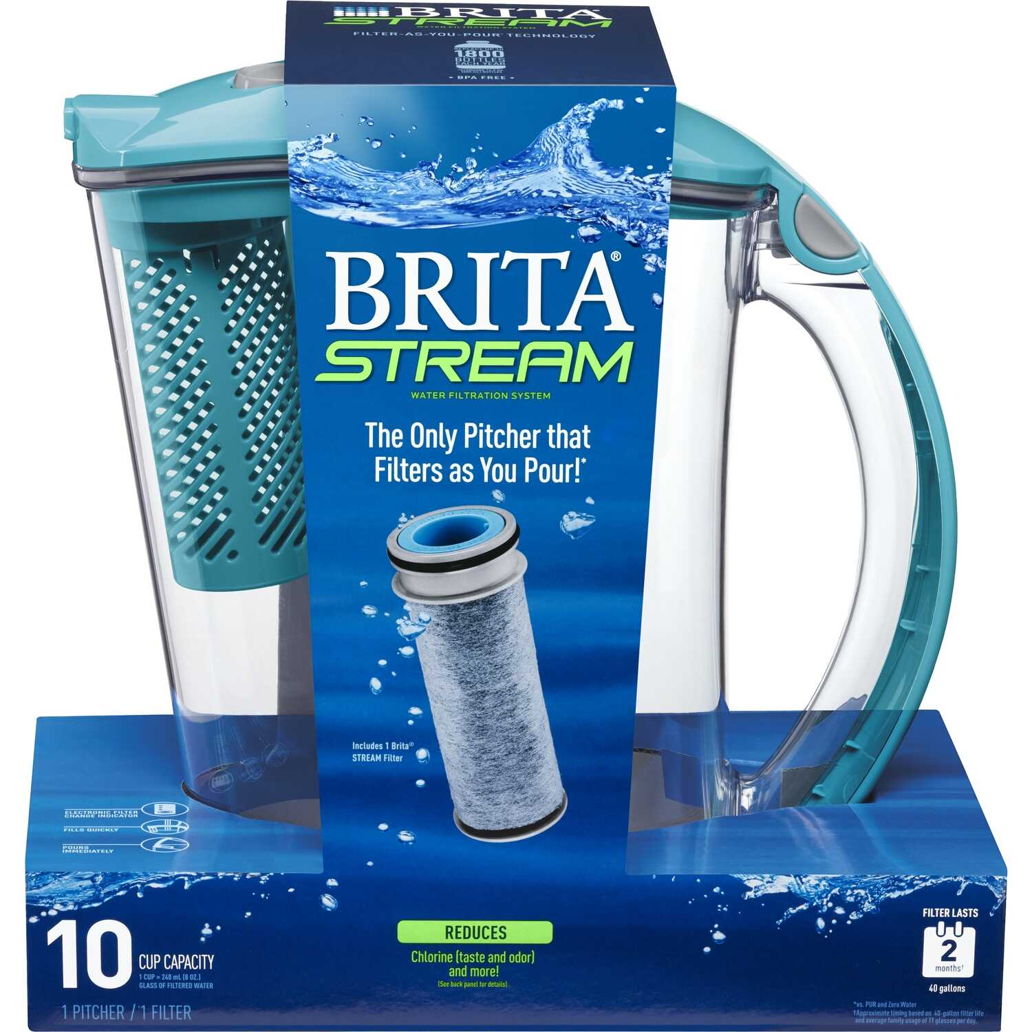 Brita  Stream  10 cups Blue  Water Pitcher