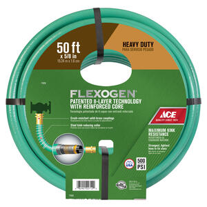 Ace  Flexogen  5/8 in. Dia. x 50 ft. L Premium Grade  Green  Vinyl  Garden Hose