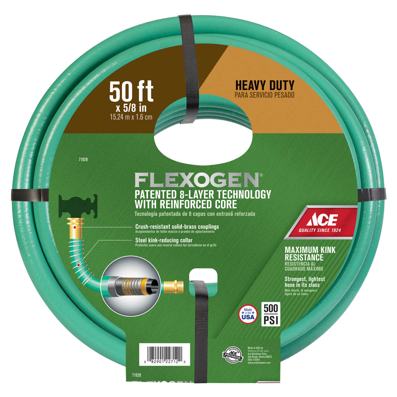 Ace Flexogen 5/8 in. Dia. x 50 ft. L Premium Grade Green Garden Hose ...