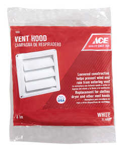 Ace  4 in. W x 4 in. L White  Plastic  Replacement Vent Hood