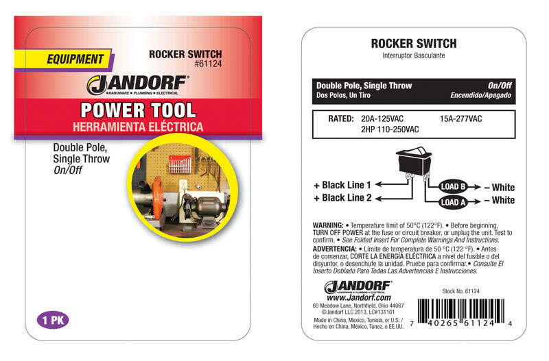 Jandorf  Rocker  Black  20 amps 1  Double Pole  Power Tool Switch