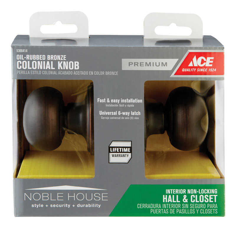 Ace  Colonial  Oil Rubbed Bronze  Steel  Passage Lockset  ANSI/BHMA Grade 3  1-3/4 in.