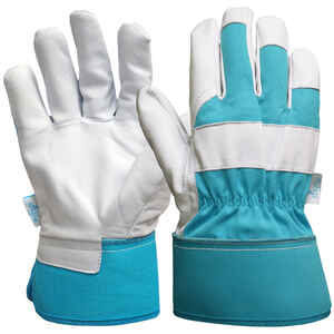Digz  Blue  Women's  M  Goatskin Leather  Gardening Gloves