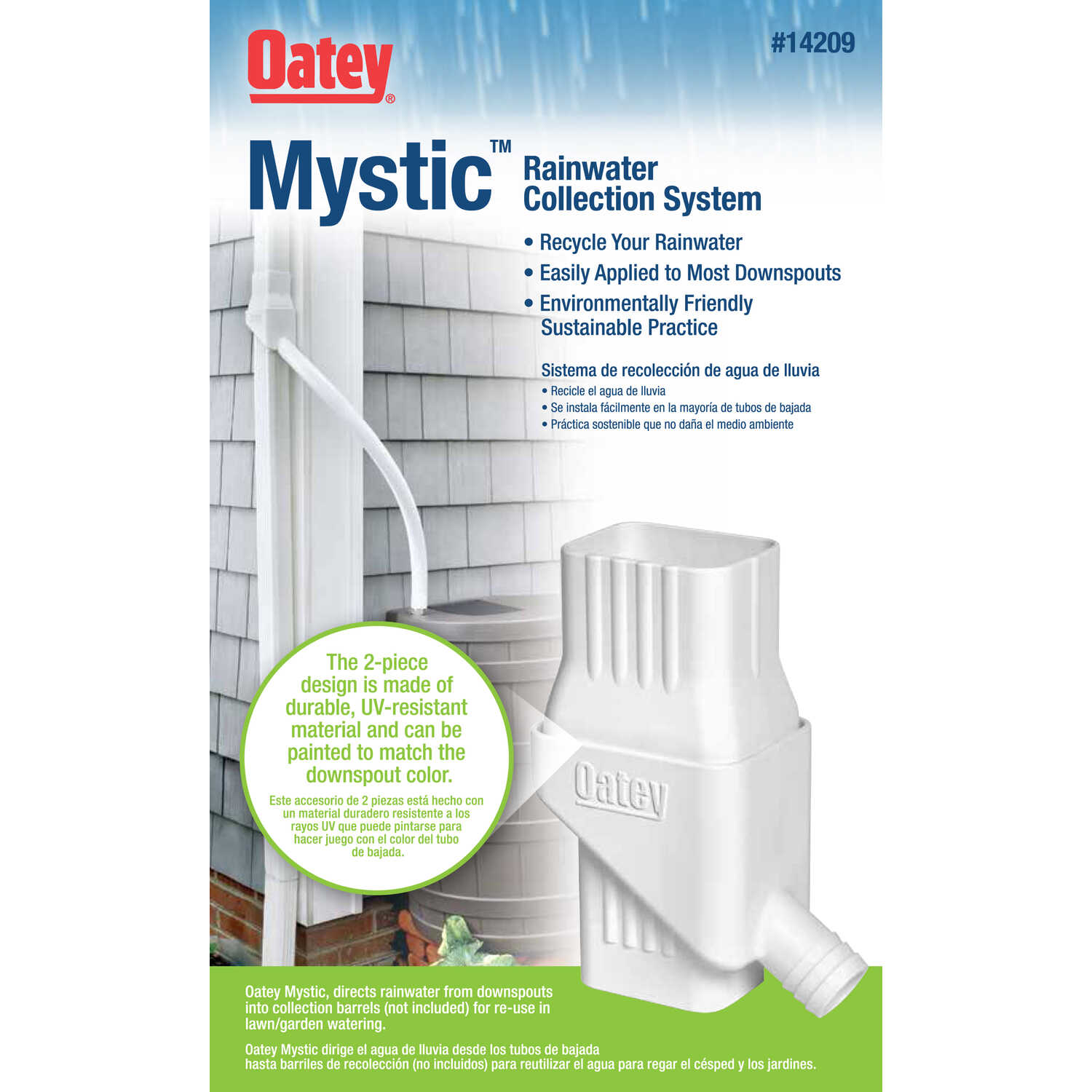 Oatey  Mystic  8 in. H x 4 in. W x 4 in. L Plastic  Rain Collection System