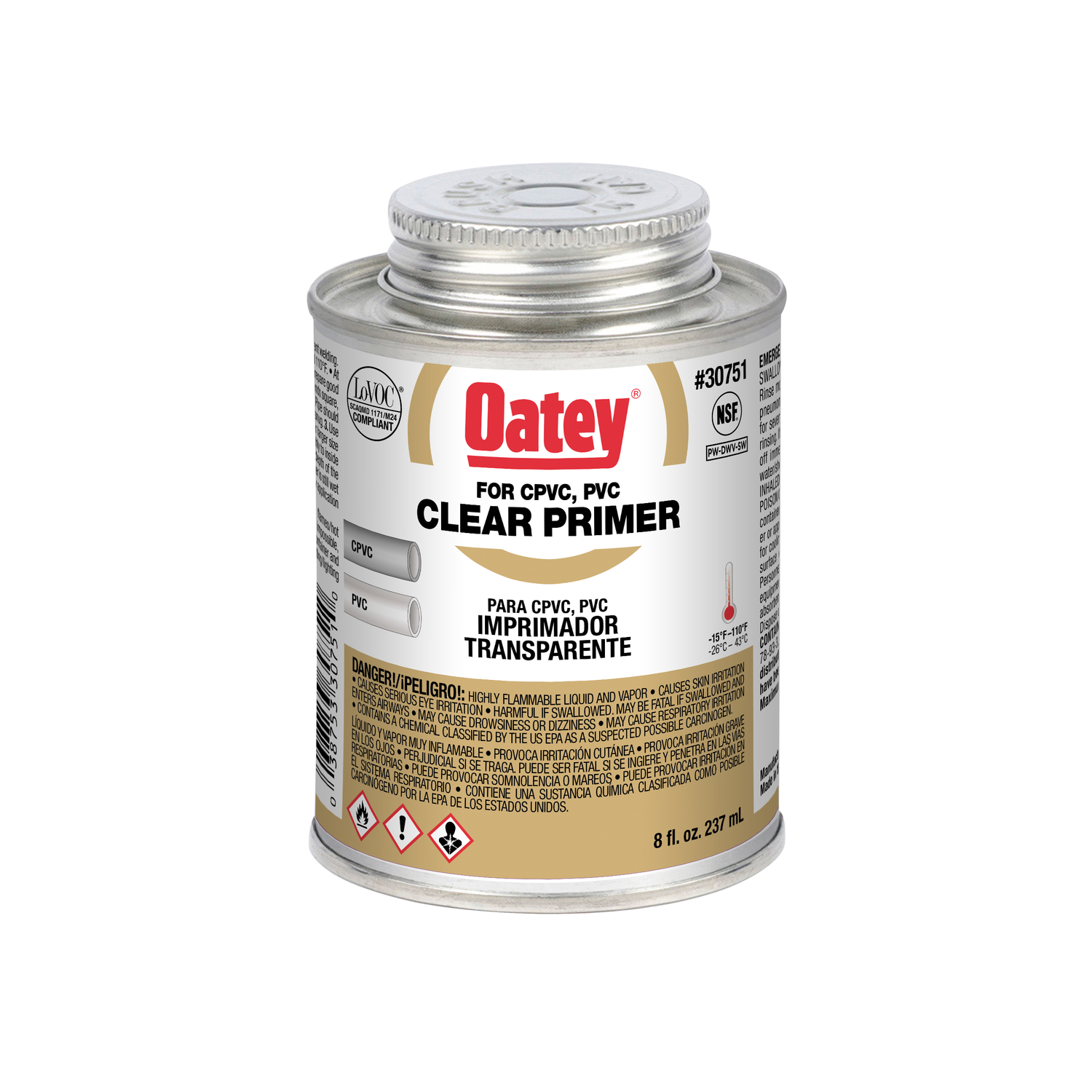 Oatey  Clear  Primer and Cement  For CPVC/PVC 8 oz.
