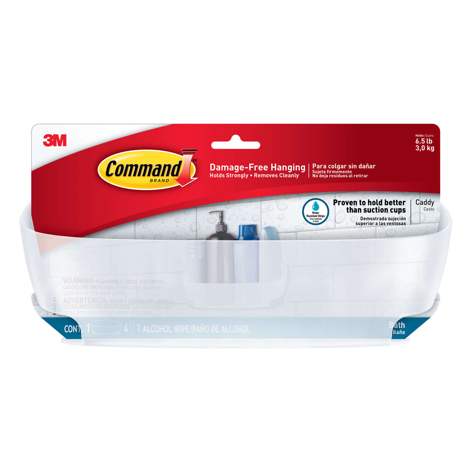 3M Command 4.75 in. H x 4.625 in. W x 11.375 in. L Clear Frosted Shower Caddy