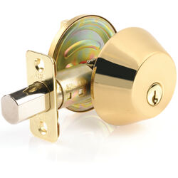 Ace  Polished Brass  Solid Brass  Single Cylinder Deadbolt