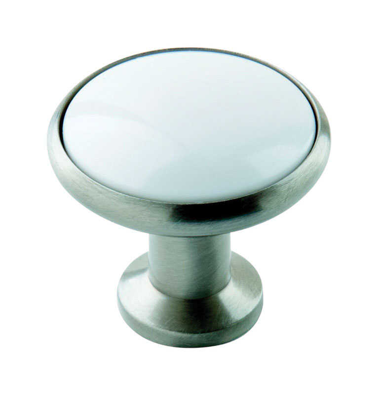Amerock  Allison  Round  Cabinet Knob  1-3/16 in. Dia. 1-1/8 in. Satin Nickel  White  10 pk