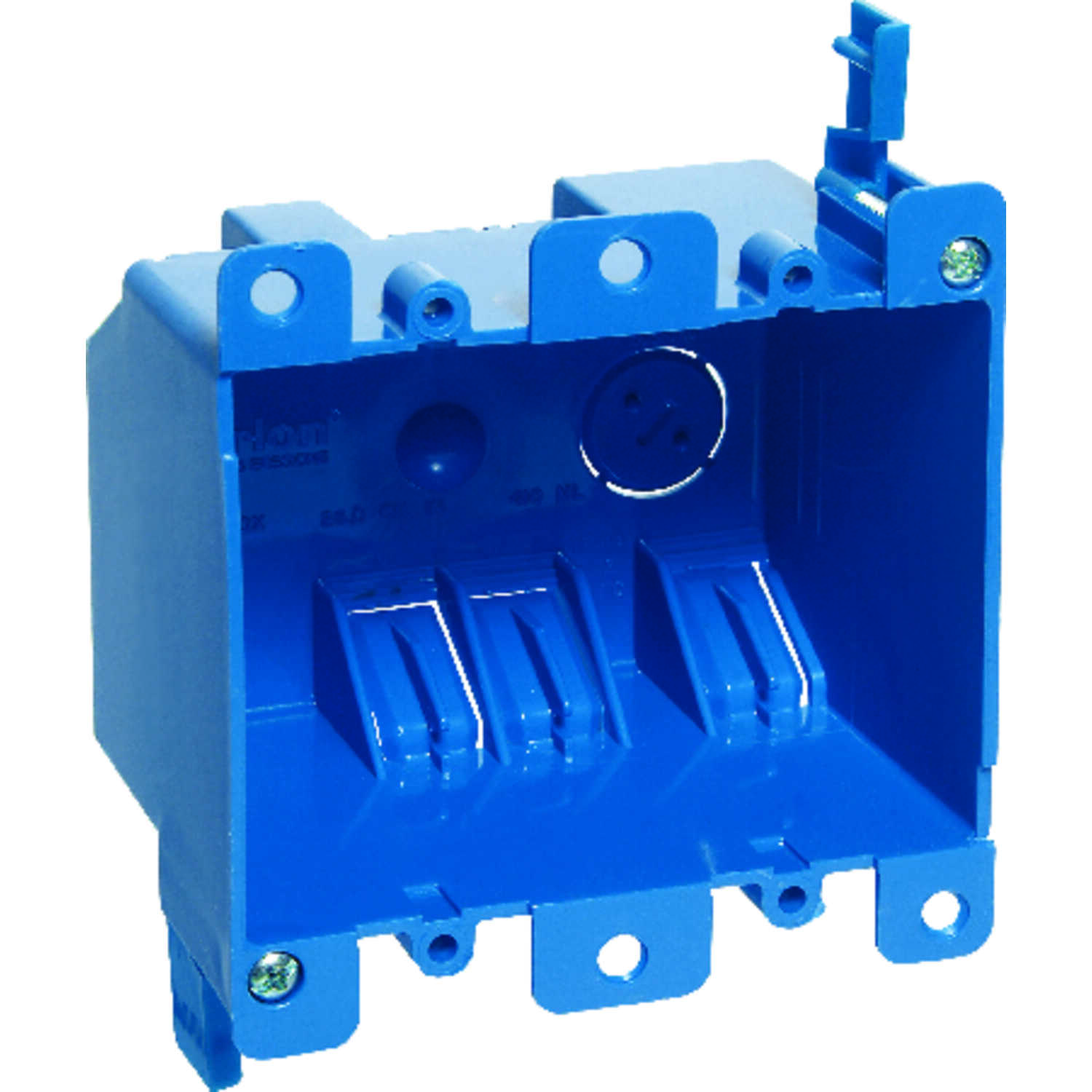 Carlon  3-15/16 in. Rectangle  PVC  2 gang Blue  Outlet Box