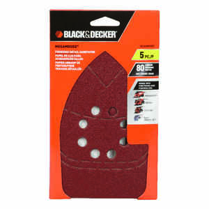 Black and Decker  Mega Mouse  6 in. L x 4 in. W 80 Grit Medium  Aluminum Oxide  Sandpaper  5 pk