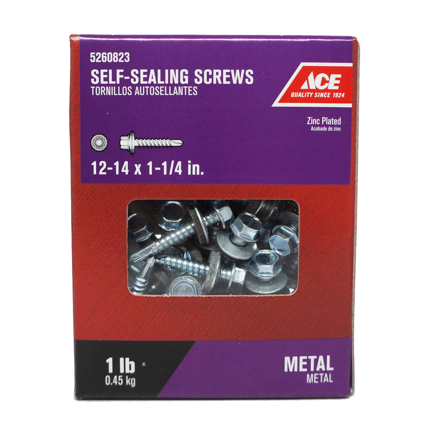 Ace  12-14 Sizes  x 1-1/4 in. L Hex Washer Head Zinc-Plated  Steel  Self-Sealing Screws  1 lb.