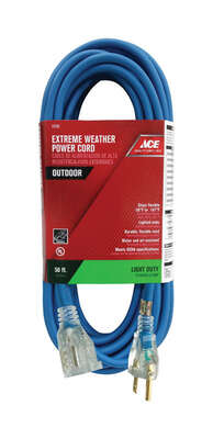 Ace  Outdoor  50 ft. L Blue  Extension Cord  16/3 SJOW