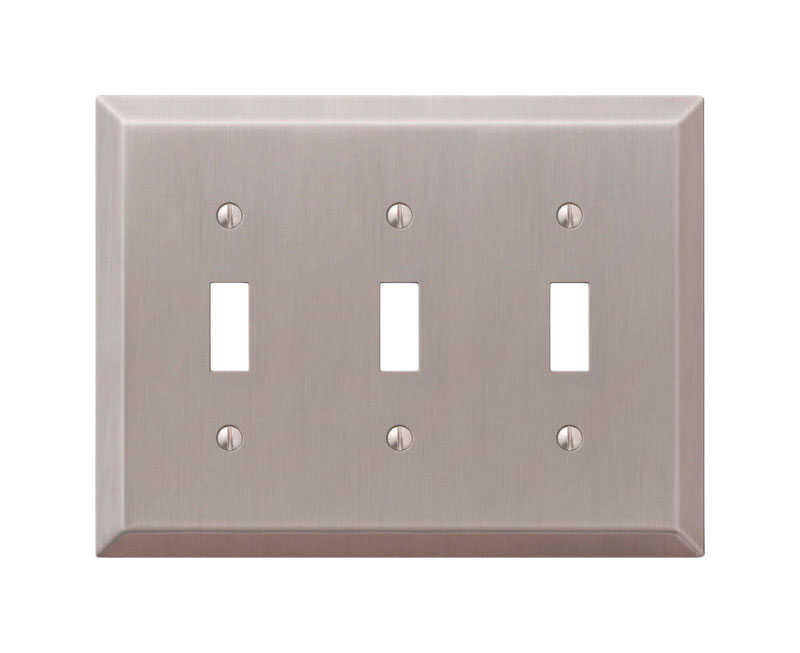 Amerelle  Century  Brushed Nickel  3 gang Stamped Steel  Toggle  Wall Plate  1 pk