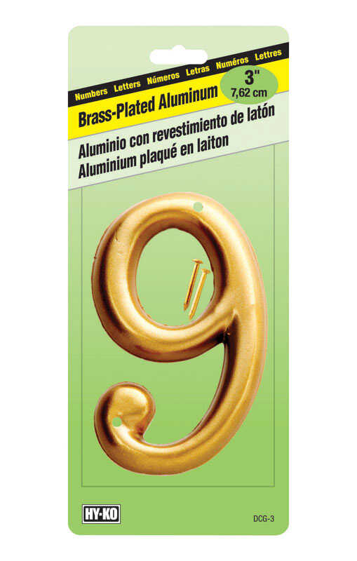 Hy-Ko  3 in. Gold  Aluminum  Number  9  Nail-On  1 pc.