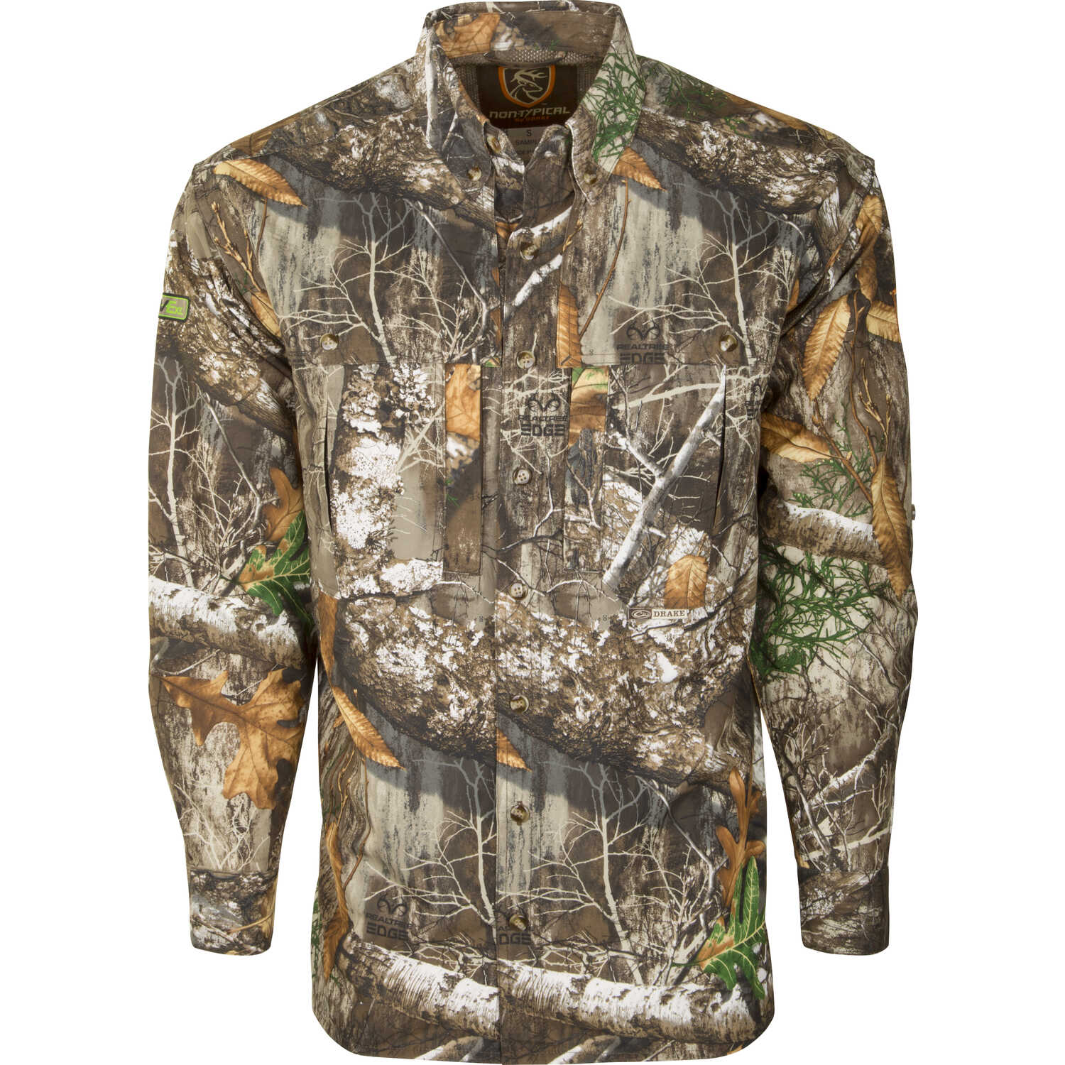 Drake  Dura-Lite  L  Long Sleeve  Men's  Collared  Realtree Edge  Shirt