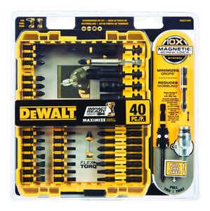 DeWalt  Impact Ready  Multi Size in.  x 3/8 in. L Screwdriver Bit  Black Oxide  40 pc. 1/4 in.