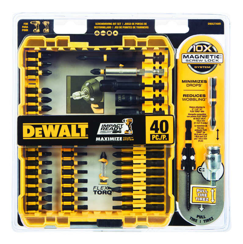 DeWalt  Impact Ready  Multi Size in.  x 3/8 in. L Screwdriver Bit  Black Oxide  40 pc.