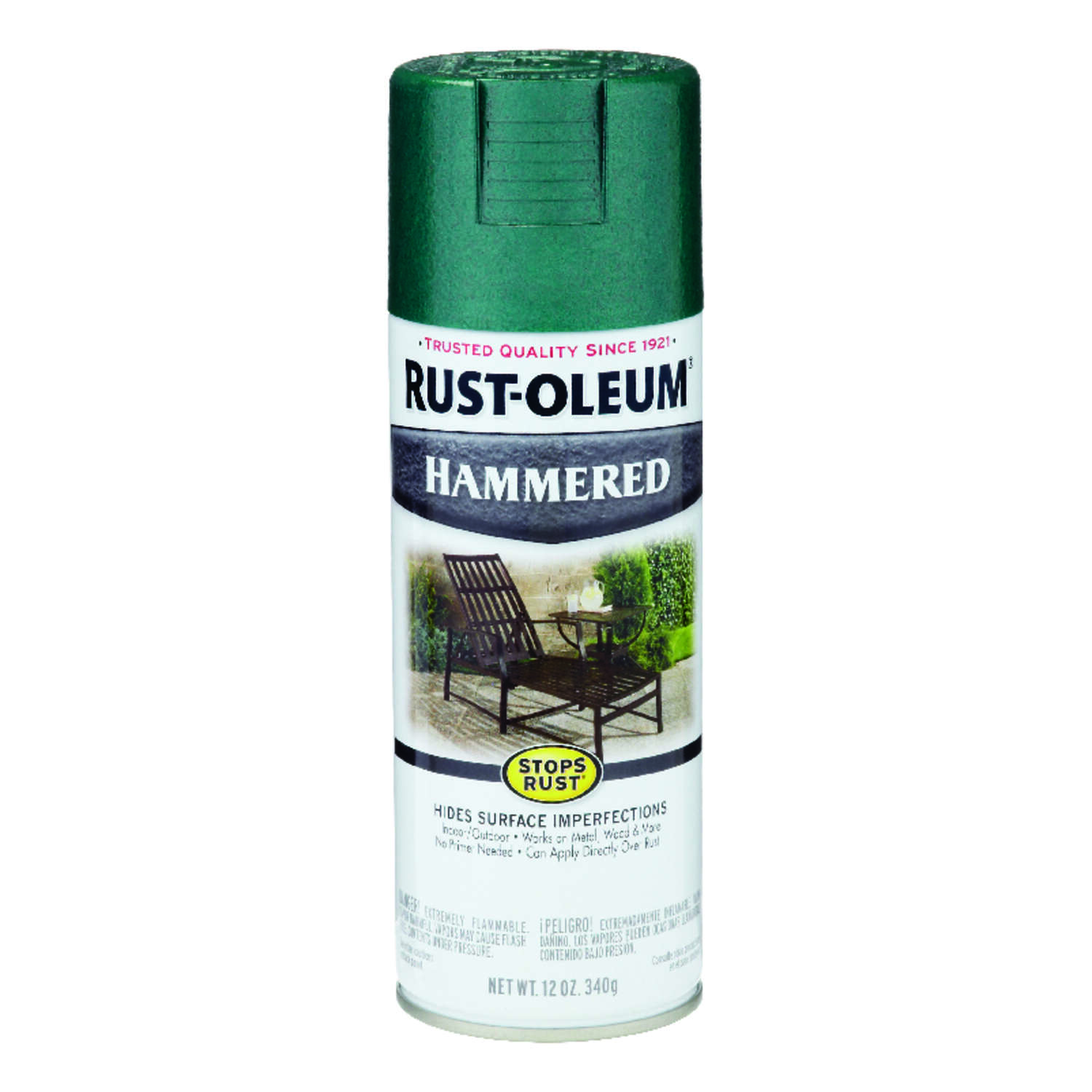 Rust-Oleum  Stops Rust  Hammered  Deep Green  Spray Paint  12 oz.