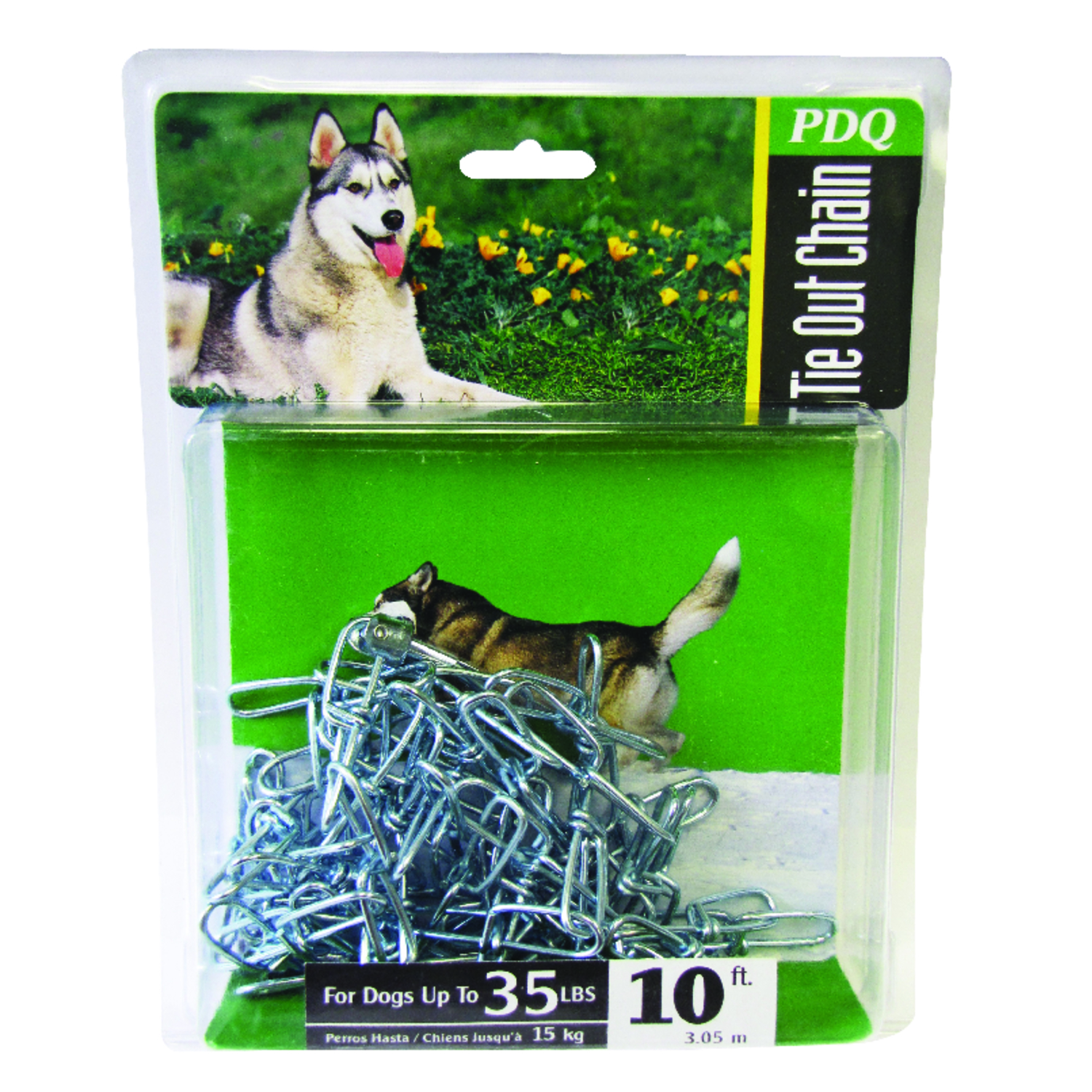PDQ  Silver  Swivel Tie-Out Chain  Steel  Dog  Tie Out Chain  Small/Medium