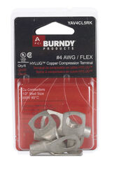 Burndy  Insulated Wire  Ring Terminal  Silver  6 pk