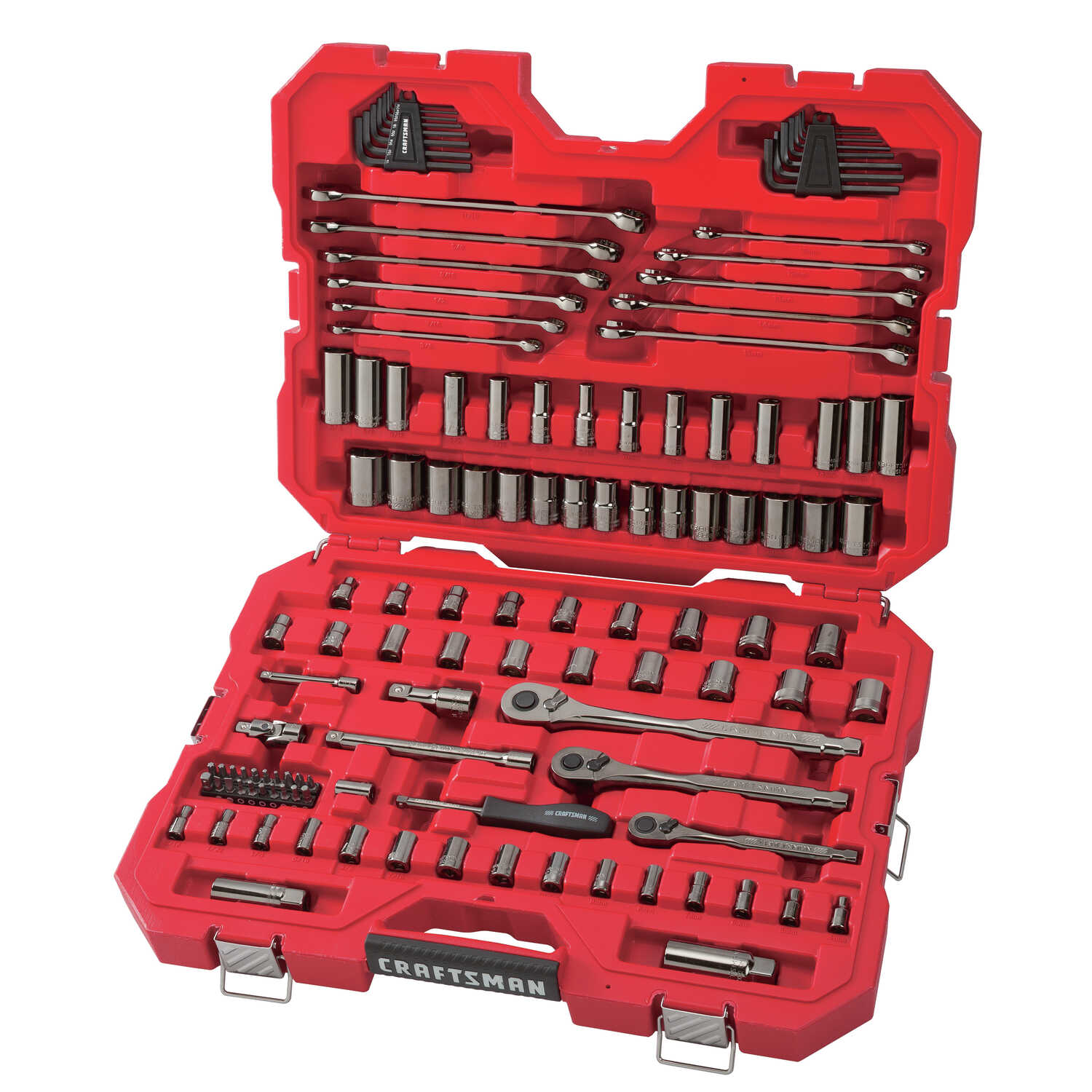 Craftsman  1/4, 3/8 and 1/2 in. drive  Metric and SAE  6 Point Mechanic's Tool Set  121 pc.