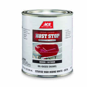 Ace  Rust Stop  Indoor and Outdoor  Interior/Exterior  White  Satin  Rust Prevention Paint  1 qt.