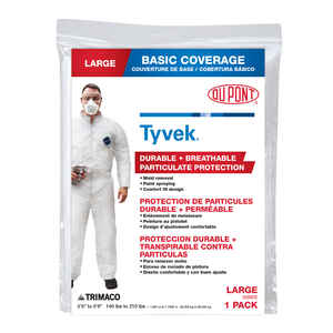 Trimaco  Large  Tyvek  Coveralls  White  L  1 pk