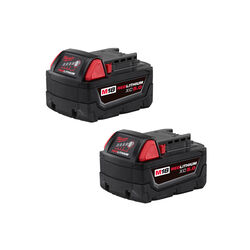 Milwaukee  M18 REDLITHIUM  XC5.0  18 volt 5 Ah Lithium-Ion  Extended Capacity Battery Pack  2 pc.