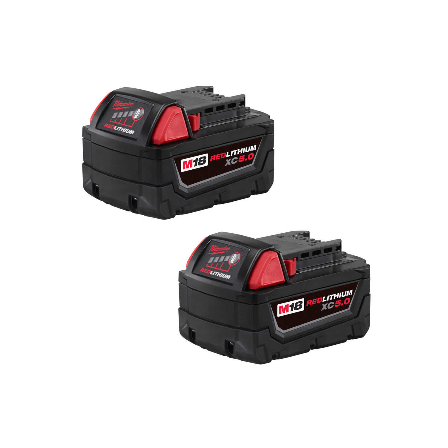 Milwaukee  M18 XC5.0  18 volt 5 Ah Lithium-Ion  Extended Capacity Battery Pack  2 pc.