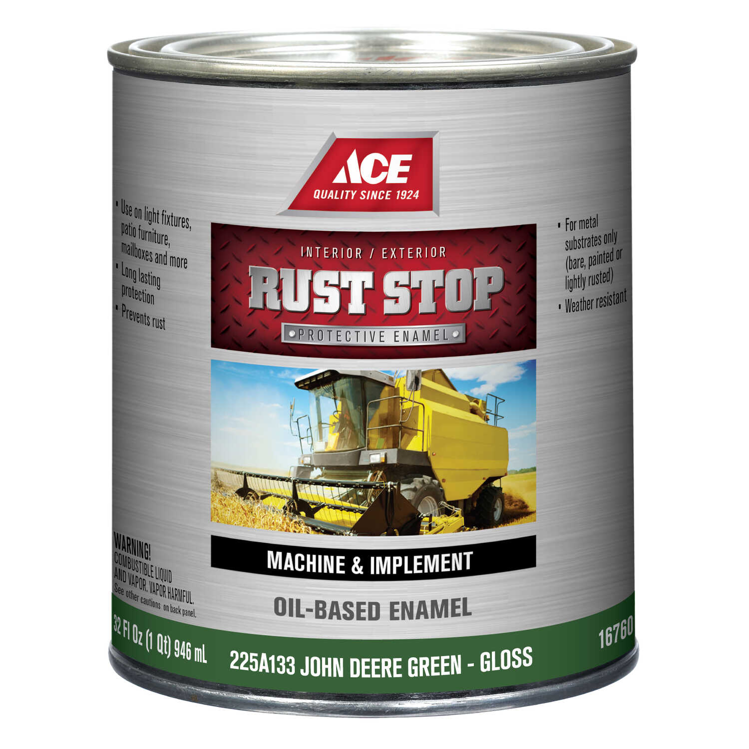 Ace  Rust Stop  Indoor and Outdoor  Gloss  John Deere Green  Rust Prevention Paint  1 qt.