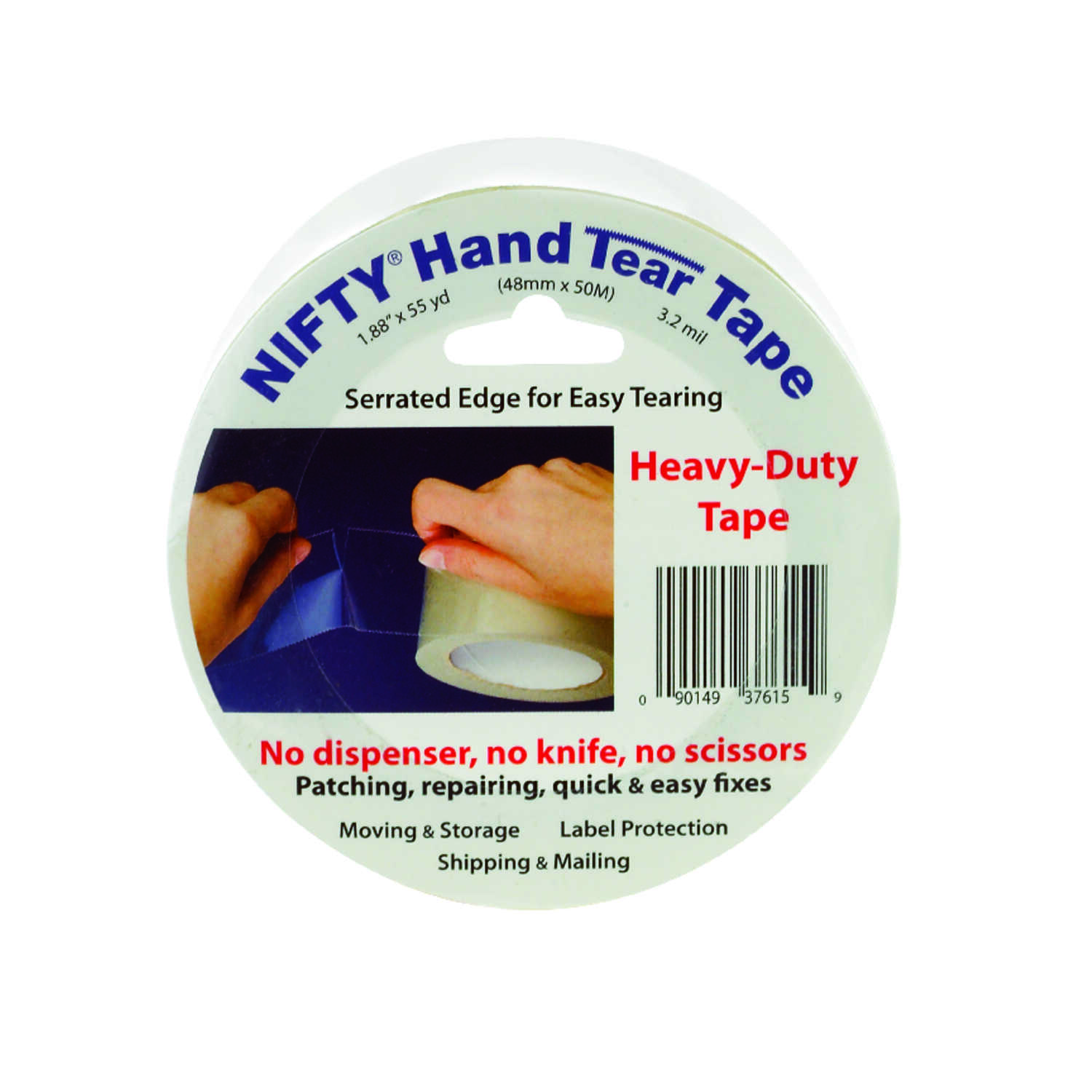 Nifty  1980 in. L x 2 in. W Hand Tear Tape  Tape  Clear