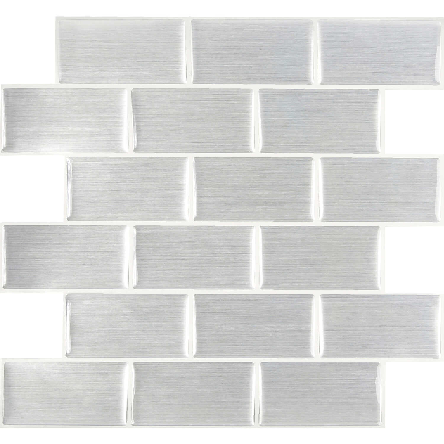 Peel and Impress  11.3 in. L x 10 in. W Multiple Finish (Mosaic)  4 pc. Gray  Vinyl  Adhesive Wall T
