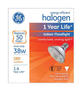 GE Lighting  38 watts PAR30  Halogen Bulb  1 pk Floodlight  580 lumens White